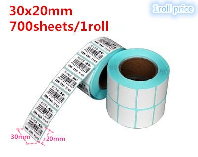 wholesale 10 roll high quality 30x20mm 700 sheets Thermal sticker paper barcode QR code printing paper label printing paper