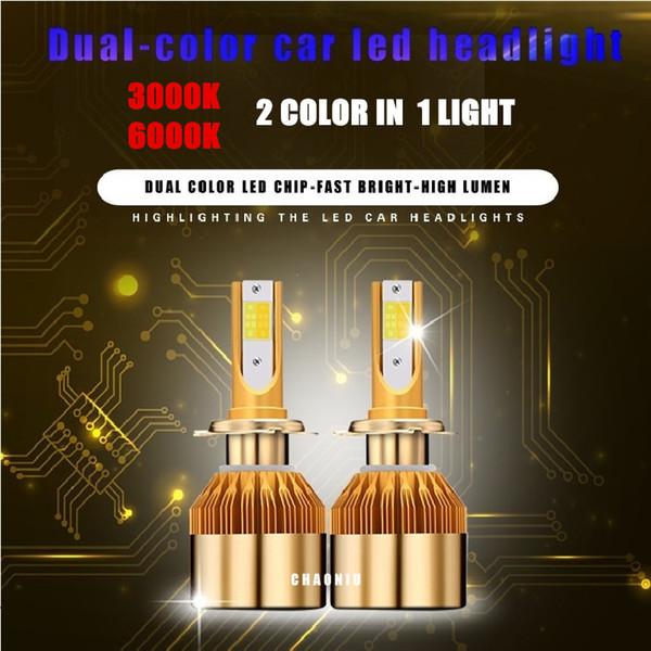 Super Bright dual color Car H4 H7 H11 LED Headlight Kit 880 9005 9006 1860 Chips Replacement 3000K 6000K H1 H3 9012 LED Bulbs