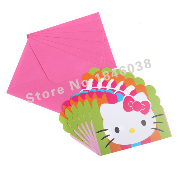 Wholesale Envelop Shape Hello Kitty Theme Party Invitation Card Kids Baby Birthday Festival Party Card Decoration Supplies Birthday Card Template