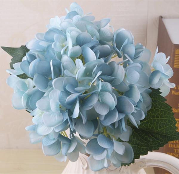 Moda 1 Adet Yapay Ortanca Çiçek Baş için 47 cm Sahte Ipek Gerçek Dokunmatik Ortancalar Düğün Centerpieces Ev Partisi Dekoratif Çiçekler