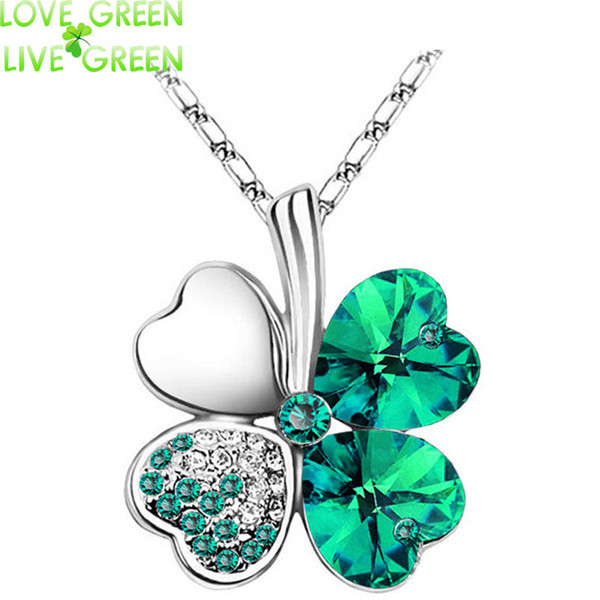 whole saleWomen`s Day factory hotsell Austrian Crystal four Leaf Leaves Clover heart rhinestones necklace pendant jewelry 9554