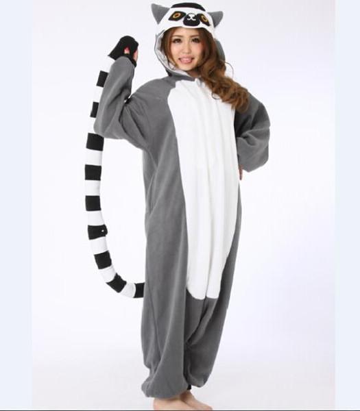 Vente en gros-nouveauté Animal Lemur Longue Queue Singe Adulte Onesie Unisexe Femmes Hommes Pyjamas Halloween Halloween Party Costumes
