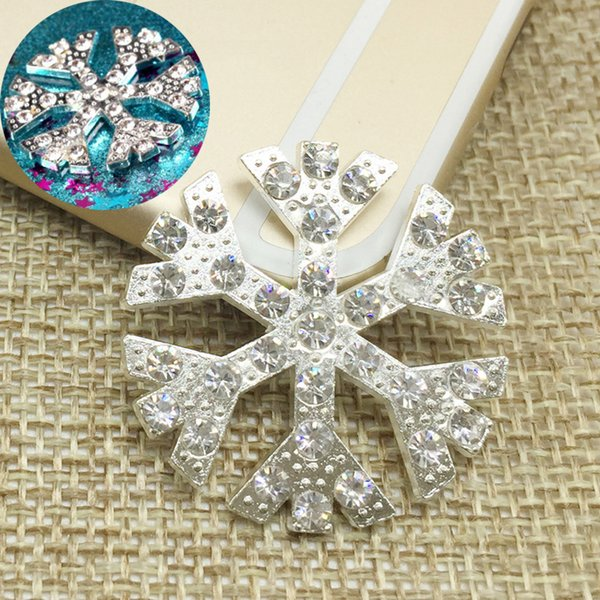 50pcs Christmas Decor Snowflake Rhinestone Flatback Drilling Barrettes Buckle Jewelry Phone Accessories Charms Bracelet Brides Hairpin Decor