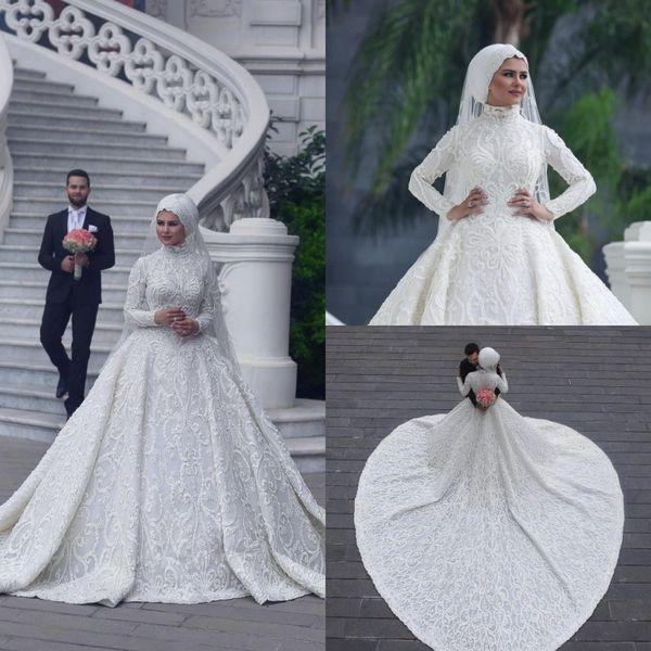 High Neck Long Sleeve Arabic Hijab Muslim Wedding Dresses 2019 Romantic  Appliques Lace White Bridal Gowns Court Train Abiti Da Sposa Custom Black