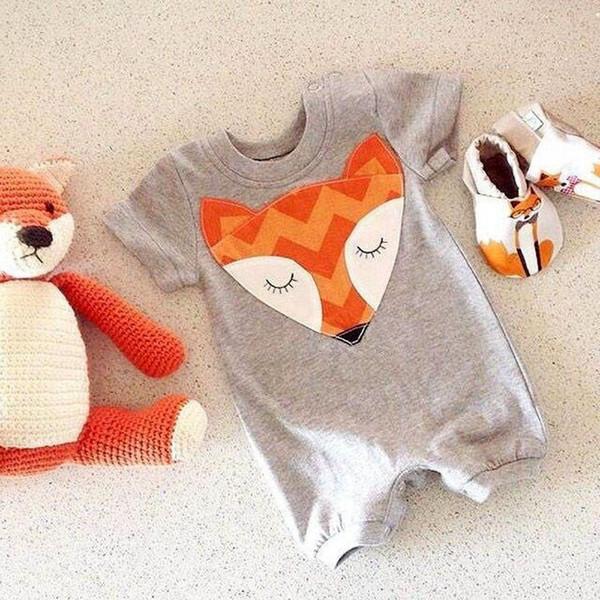 wholesale- 2016 cute newborn baby boys girls fox romper jumpsuit bodysuit cotton outfits