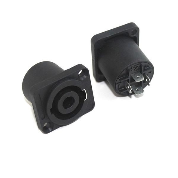 100pcs/Lot Good Quality Black Speak on 4 Pin Female Jack Compatible Audio Cable Connectors