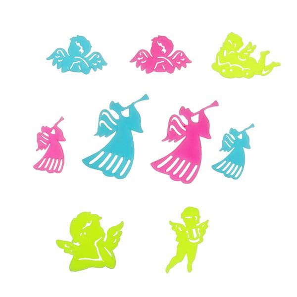 9 pcs bebê anjos crianças adesivo de parede para quartos de crianças brilham no escuro adesivos de parede home decor salas de estar fluorescente cartaz arte