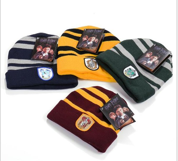 top popular New Harry Potter Beanie Gryffindor Slytherin Skull Caps Hufflepuff Ravenclaw Cosplay Costume Caps Striped School Winter Fashion Hats 2019