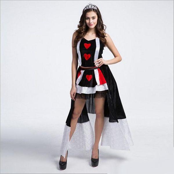 10pcs / lot neue Ankunft Luxus die Königin der Herzen Kostüm mit Krone sexy Cosplay Halloween Uniform Versuchung Bühne Leistung Kleidung