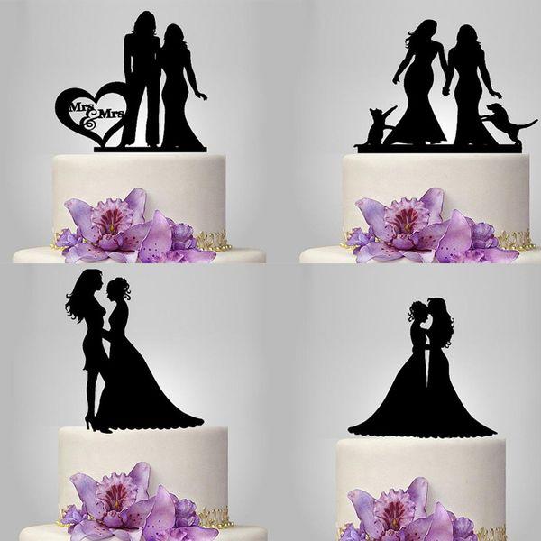 20pcs Personalized Black Acrylic Cake Topper Cake Topper Customized Wedding Mrs & Mrs Bride the Cake Topper