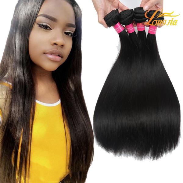 Productos para el cabello Longjia Pelo virginal peruano Color natural recto 100% Paquetes de cabello humano Máquina Doble trama Envío gratis