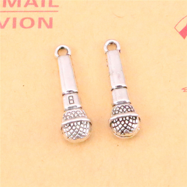 72pcs Tibetan Silver Plated microphone Charms Pendants for Jewelry Making DIY Handmade Craft 25*7mm