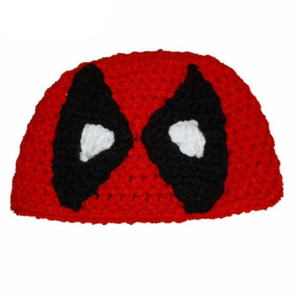 Super Cool Red Deadpool Outfits,Handmade Knit Crochet Baby Boy Girl Cartoon Beanie Hat,Kids Winter Hat,Infant Toddler Photo Prop