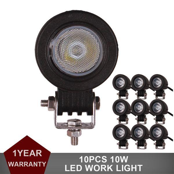 10pcs Mini 10W LED Work Light Offroad Auto Truck ATV Motorcycle Trailer Bicycle Fog Lamp Headlight Turn Signal Side Marker Lamp