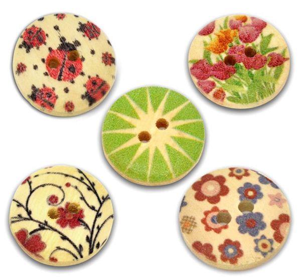 mixed color fashion button design round wooden button clothing button 18mm-100pcs