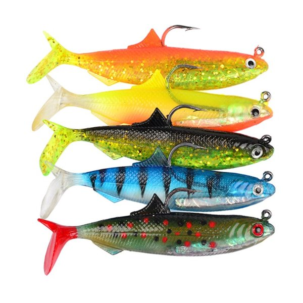 5 Colors Silicone Shad Fishing Lures 21g Soft Plastic Fishing Baits Combo 10.5cm Lifelike Leads Lure for All Water