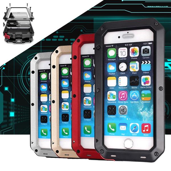 Venta caliente A Prueba de agua Caja de Metal de Aluminio Duro A Prueba de Golpes Casos de Teléfono Celular Móvil a prueba de golpes para iphone 6 6 s plus iphone 7 7 plus