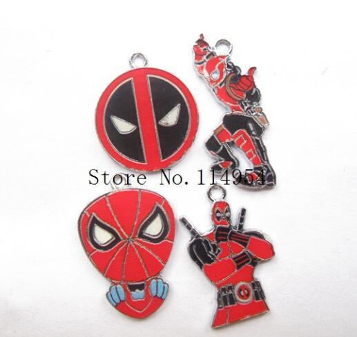New 10 pcs Cartoon Deadpool Enamel Metal Charm Pendants, Fashion Key Chain DIY Jewelry Making Accessories Pendant N-9