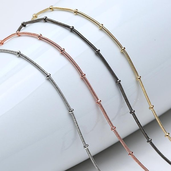 New 24 inch 1.2mm Snake Chains Necklace Rose Gold/Gold/Silver/Black Fashion Jewelry Necklaces Flat Chains Plain chain Accessories Jewellry