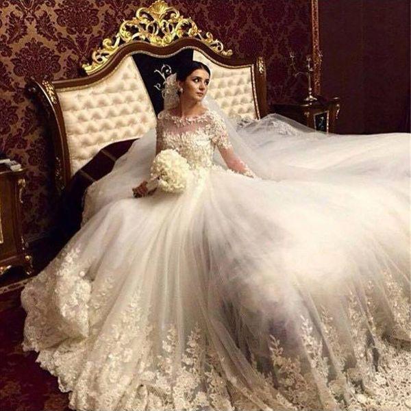 Vestido de bola Vestidos de novia 2017 Vestidos de princesa de manga larga con flores hechas a mano Bordados Apliques Catedral Vestidos de boda con Rhineston