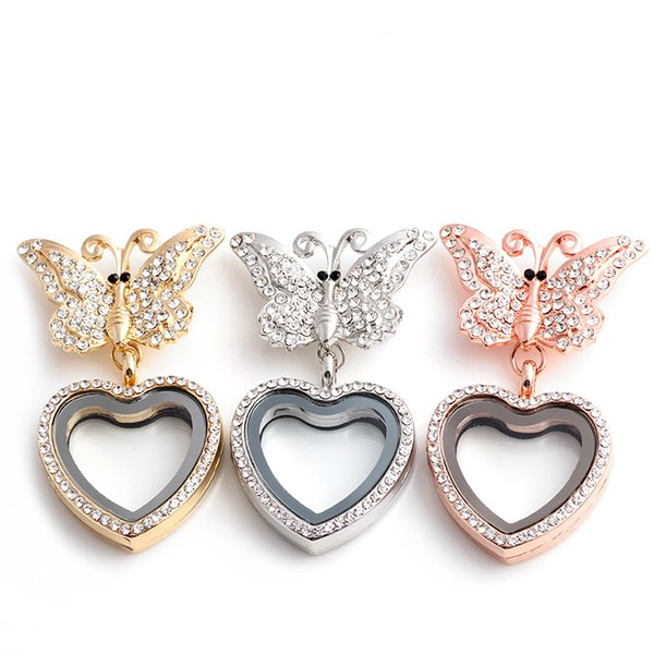 Crystal Bowknot Charm Living Memory Floating Glass Heart Locket Pendant Brooch