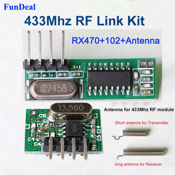 Compre Lote Nuevo Módulo De Rf 433 Mhz Kits De Transmisor Y Receptor Superheterodino Con Antena Para Arduino Uno Diy Kits 433 Mhz Controles Remotos