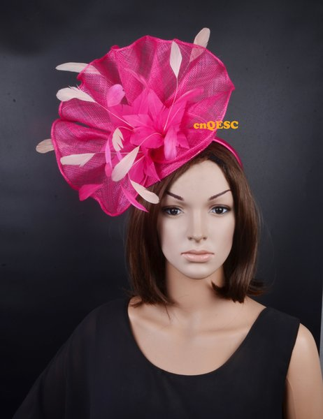 NEW heather Fuchsia ivory Big Sinamay feather fascinator hat for kentucky derby,melbourne cup,ascot races,wedding party.FREE SHIPPING.