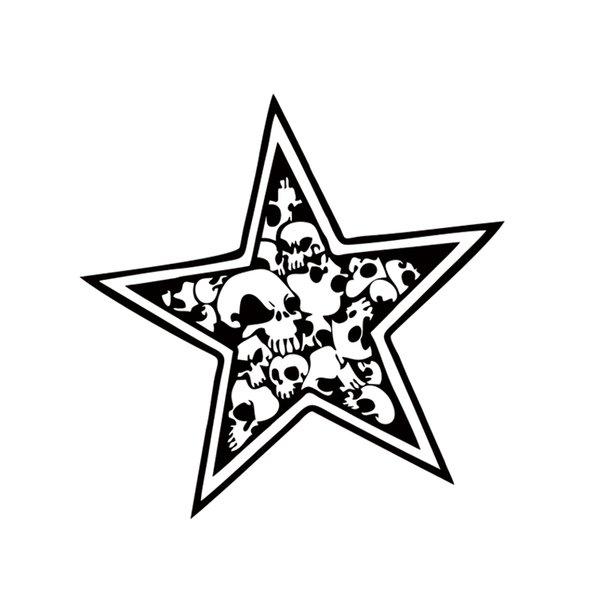 2x Star Skull Sticker Car Styling Car Truck Window Vinyl Decal