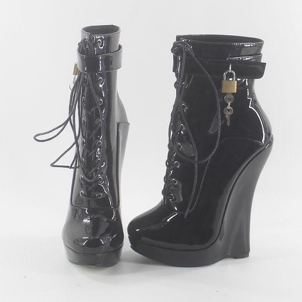 Wonderheel new patent leather extreme high heel 18cm heel with 3cm platform wedge ankle boots locked padlocks women sexy boots