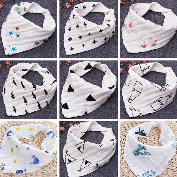 best selling INS 12styles 4 layers baby bibs 100% cotton Lunch Bibs Towel Saliva Baby Kids Infants milk print letter gauze washed water bath towel