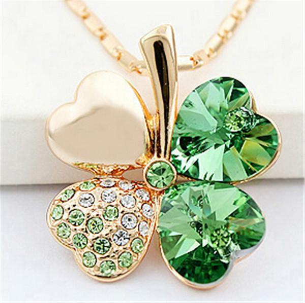 Factory Four Leaf Clover Hand Made Necklaces Pendants Heart Crystal Elements Vintage Fashion Wedding Gift Jewelry For Women