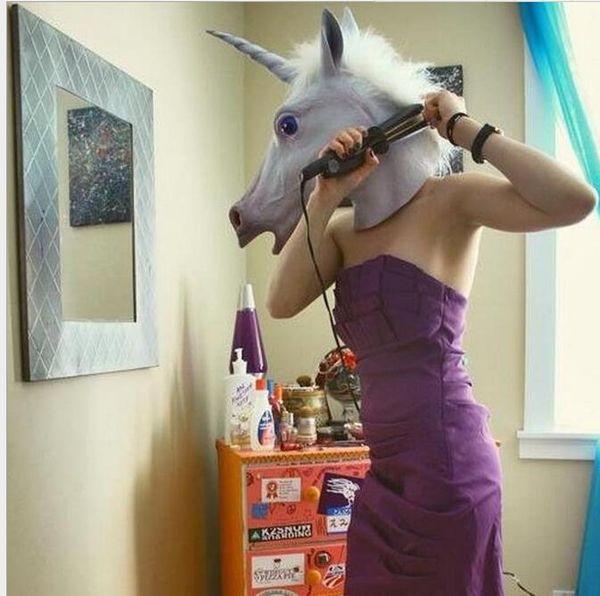 Creepy Horse Unicorn Mask Head Halloween Party Costume Theater Prop Novelty Latex Rubber animal head masks