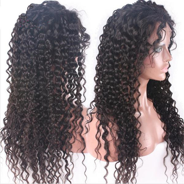 Stocking Virgin Indian Human Hair Wig Deep Curly Full Lace Wig for Black Women Free Shipping