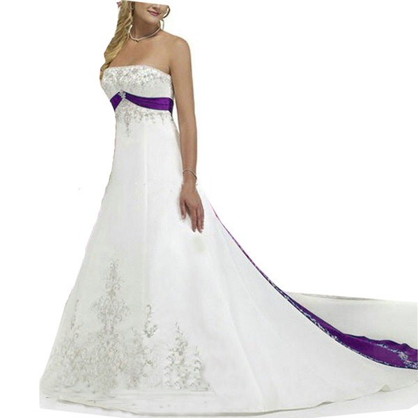 382df87a9 new Strapless embroidety Royal blue and white wedding dress satin bridal  gown A Line Custom Made