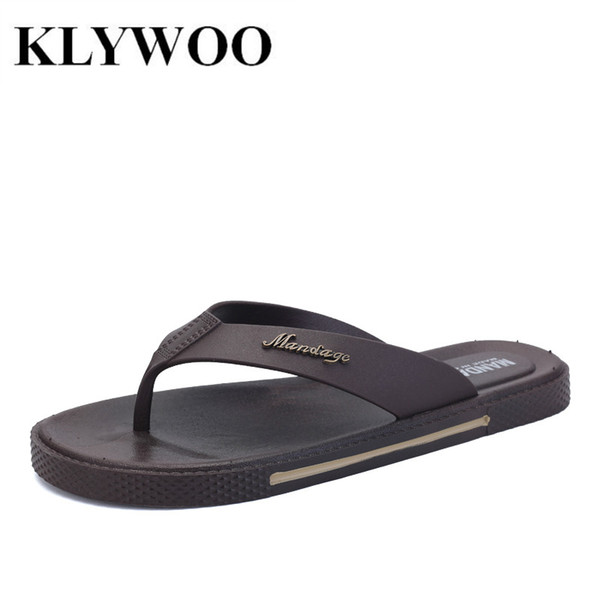 Wholesale-Men Sandals Fashion Causal Shoes Breathable New Summer Street Fashion Leather Flat Sandals Mens Flip Flops Beach Slippers Brown