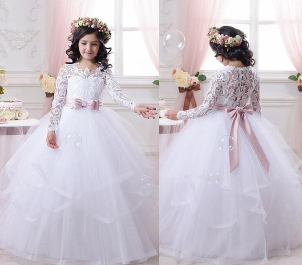 best selling Flower Girl Dresses for Weddings Lace Long Sleeve Girls Pageant Dresses First Communion Dress Little Girls Prom Ball Gown