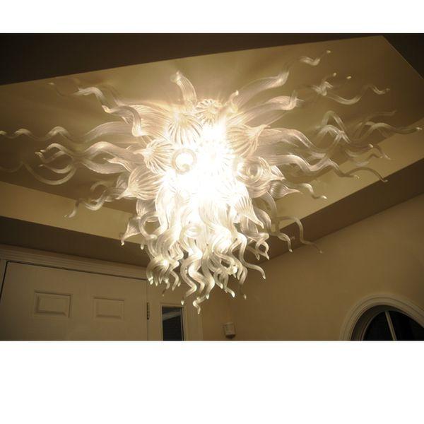 White Modern Crystal Chandelier Murano Glass Led Light Bulbs For Dining Room Entrance Hall