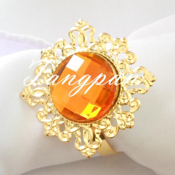 Wholesale- Hot Sell 100Pcs gold - Orange napkin napkin ring the gem wedding bride wedding shower decorations supper busy bride favored