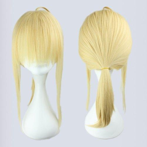 MCOSER European Style Light Golden Fate Zero Saber Medium Straight Cosplay Ponytail Wig Free Shipping