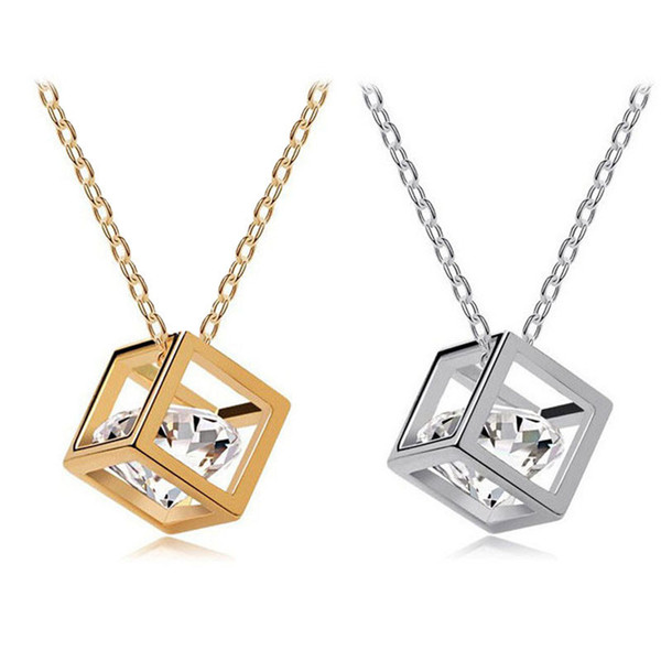 top popular Gofuly NEW charm Top Brand Women Chain pendants berloque Crystal Rhinestone Square Pendant Alloy Necklace Jewelry free shipping 2019