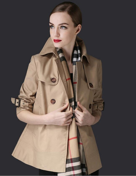 İlkbahar Sonbahar Moda Kadın Kısa Hendek Coats Bayanlar A-Line Kruvaze Palto Kızlar 9/10 Kol Gevşek WINDBREAKER S-XXL