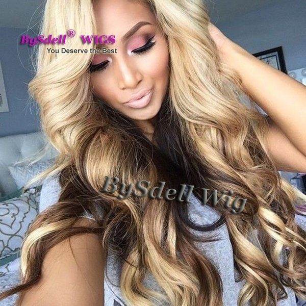 Long Sexy Lady Kim K Curl Wave Hairstyle Wig Synthetic Heat Resistant Lace Front Wigs Blonde Cover Black Color Wigs for Black Women