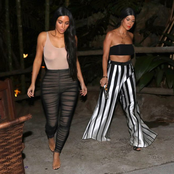 2019 Wholesale Kim Kardashian Mesh Jumpsuit Women Sexy Ruched Mesh