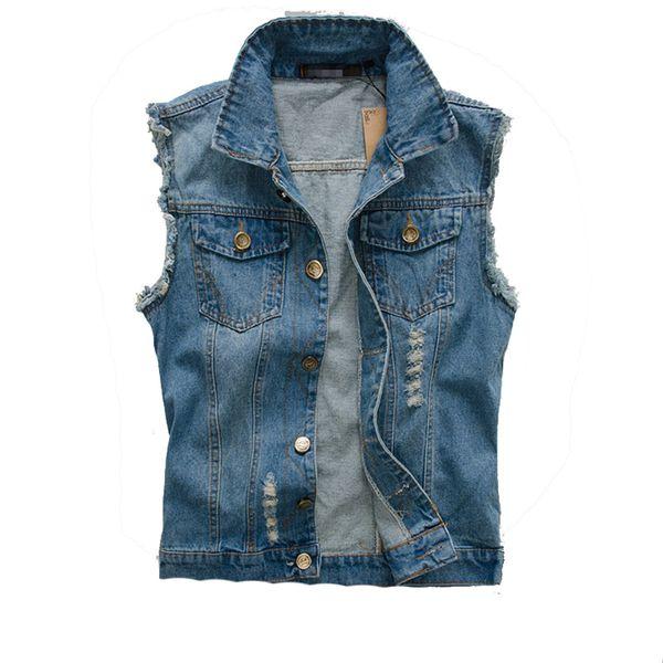 Wholesale- 2016 New Fashion Mens Denim Vest Vintage Sleeveless washed jeans waistcoat Man Cowboy ripped Jacket Plus Size 5XL Asian,EDA176