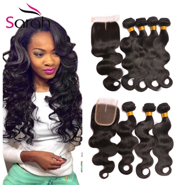 7a Peruvian Virgin Hair Body Wave With Closure Grace Hair Unprocessed 3 Bundles double weft With Closure Short Human Hair Weave With Closure