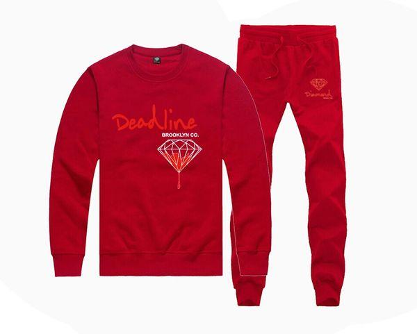 6M24115 Hot-sale Diamond Supply Sweatshirts +PANTS suit for Men and Women Fleece Lined Hip Hop Skateboard Crewneck hoodies S-5XL
