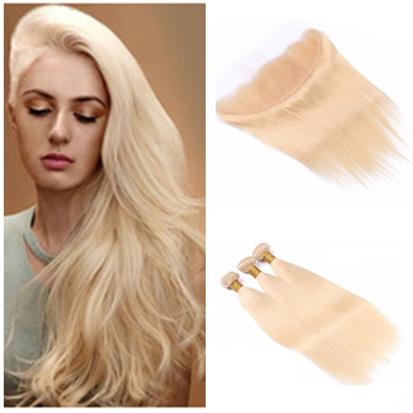 Peruvian Virgin Human Hair 3 Bundles With Blonde Lace Frontal Closure #613 Platinum Blonde Straight Hair Weaves With Lace Frontal 4Pcs Lot
