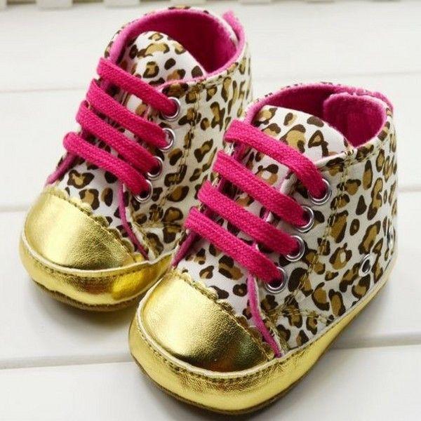 Baby Girl Infant Toddler Leopard Gold Crib Shoes Walking Sneaker