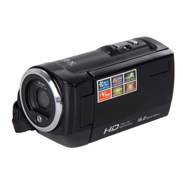 Wholesale-2.7 inch Video Camcorder Cameras TFT LCD HD 720P 16MP Digital Video Camcorder Camera DV DVR UK Plug Support SD USB Video Sound