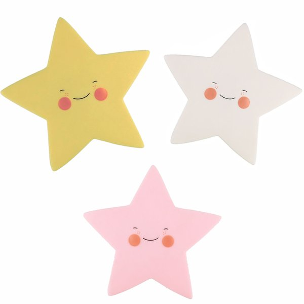 Wholesale- Lumiparty Creative Smile Face Star LED Night Light Soft Nursery Lamp for Kid's Room Decorations Mini Indoor Lighting for Baby